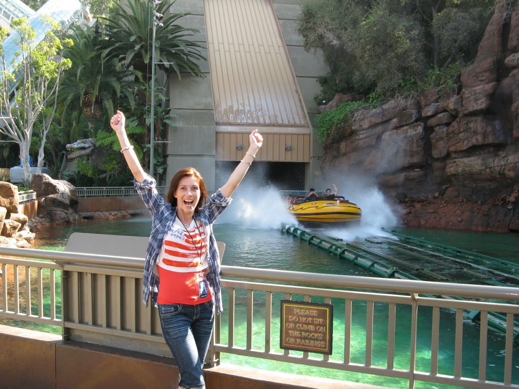 Me, after I made it through one point on my bucket list: The Jurrassik Ride (freefall in the end)
